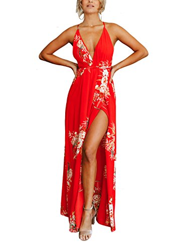 FFLMYUHUL I U Women's Strap Floral Print Lace Up Backless Deep V Neck Sexy Split Beach Maxi Dress (Best Dresses For Beach Vacation)