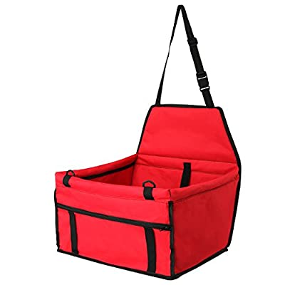 Pet Car Seat ,Dog & Cat Portable Travel Collapsible Car Carrier for Approx 13 Pound Pets with Adjustable Safety Leash and Foldable Waterproof Zipper Storage