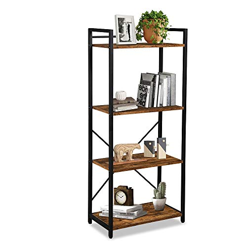 LENTIA 4-Shelf Industrial Bookshelf and Bookcase, Open Vintage Bookcase with Metal Frame Furniture, Rustic Book Shelf Storage Display Bookshelves for Living Room Home Office