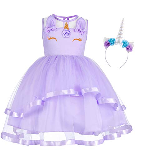 Little Big Girl Unicorn Flower Applique Tutu Dress Pageant Party First Communion Halloween Fancy Dress Birthday Costume #1 Purple & Headband 12-13 -