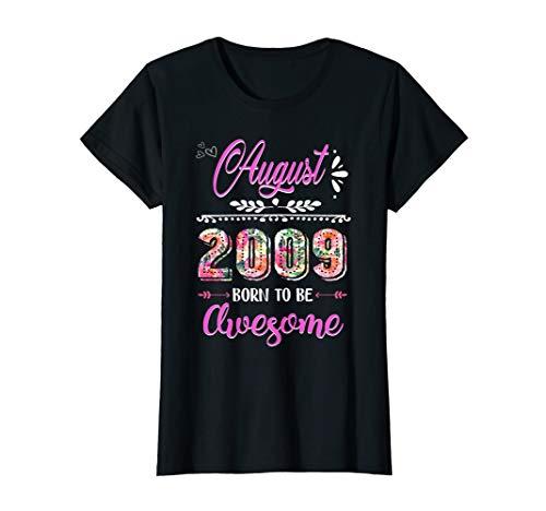 August 2009 10 Years Old 10th Birthday Womens Flower Shirt