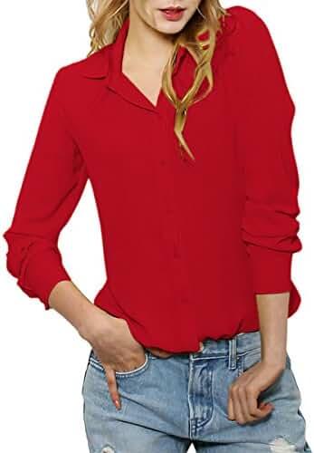 Cekaso Women's Button Up Shirts Solid Collared Sheer Long Sleeve Chiffon Blouse
