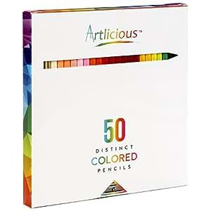 Artlicious - 50 Premium Distinct Colored Pencils for Adult Coloring Books - Bonus Sharpener - Color Names on Pencils
