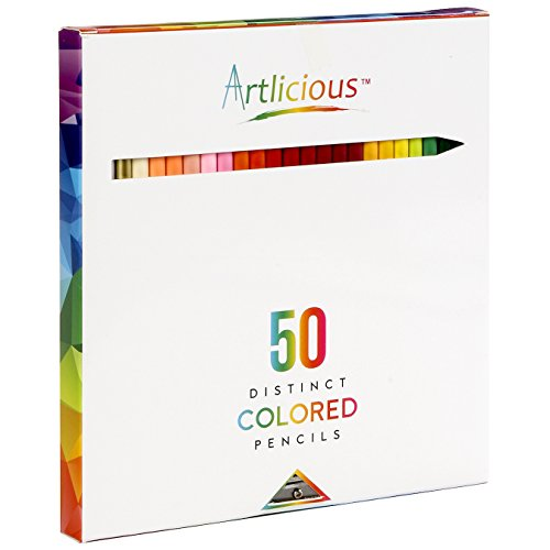 Artlicious - 50 Premium Distinct Colored Pencils for Adult Coloring