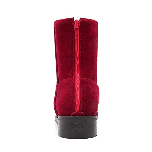 Allhqfashion Women's Round Closed Toe Low-Heels Frosted Low-Top Solid Boots Red fUA9EYV8