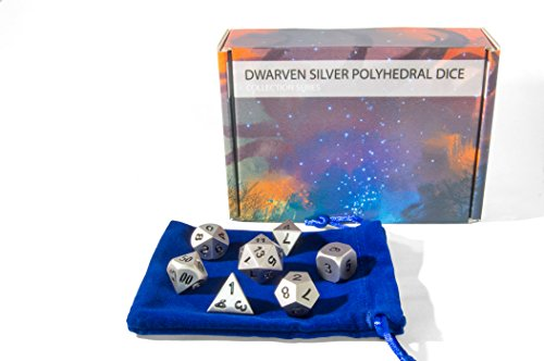 Metal DnD Dice Set (7) - Silver, Matte Finish (Heavy) - Includes D6, D8, D10, D12, D20 and D Percent Polyhedral Dice w/ Carrying Bag - Ready for your next RPG tabletop game