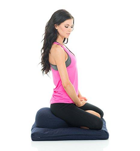 Organic Zafu and Zabuton Meditation Cushion Set (Blue). Hand Made With Durable Eco-Friendly Materials. Made By The Pros Choice Awaken Meditation.