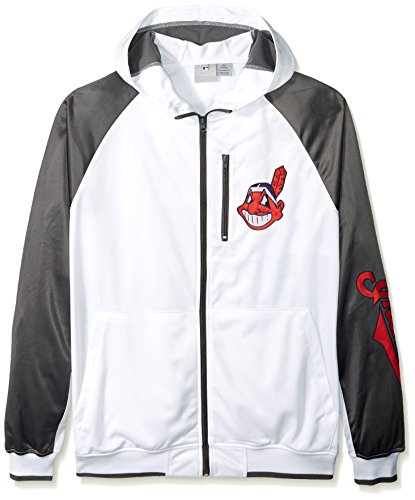 MLB Cleveland Indians Men's Full Zip Tricot Logo Sleeve Track Jacket with Wordmark, 5X, White/Charcoal