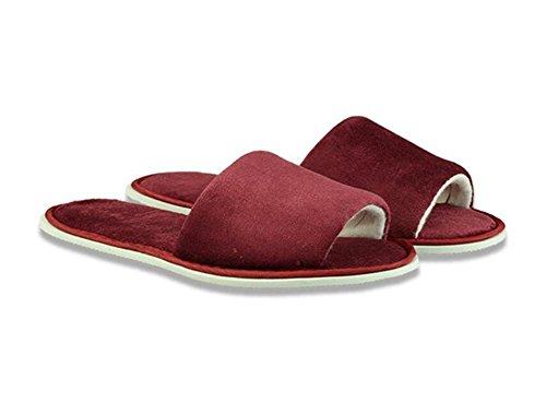 Pantofole per aprire le dita Hotel Camere Forniture per club per pantofole non usa e getta Taglia velluto Spessore Non scivolare Home Hospitality 5 Pz , red ,