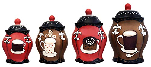 Coffee Theme Decorations - Tuscany Hand Painted Fleur De Lis Coffee Design, Canister Set of 4, 85101/5JJHG by ACK