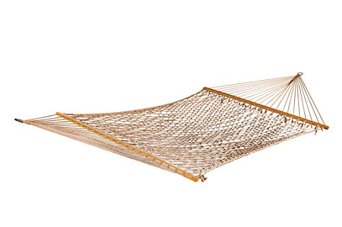 Bar Mahogany Finish Bronze (Bliss Hammocks BH-410BR Classic Cotton Rope Hammock with Spreader Bar, Bronze)