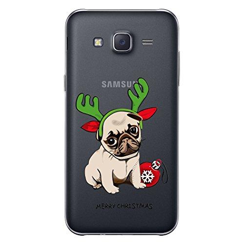Funda Samsung S7 , We Love Case Soft Gel TPU Silicona Funda Transparente Suave Silicone Case Cover Flexible y Ligero Protective Case Cubierta Navidad Nuevo Diseño Original Funda Protectora Carcasa Bum Perro Lindo