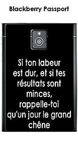 Carcasa Blackberry Passport Design citación 'si ton labeur' texto blanco fondo negro