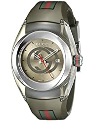 Gucci SYNC L Stainless Steel with Striped Khaki Rubber Band Womens Watch(Model:YA137306)