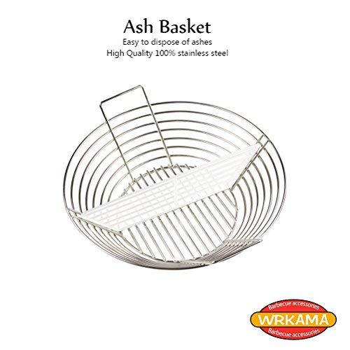 WRKAMA BBQ Charcoal Ash Basket Kamado Joe Accessories,BBQ Stainless Steel Ceramic Grill Charcoal Ash Basket for Kamado Joe Classic Series 1 Akorn Jr. Kamado Kooker Grill New Version