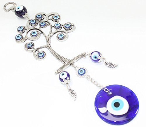 Turkish Blue Evil Eye  Nazar  Life Tree Amulet Wall Hanging Home Decor Protection Blessing Gift Us Seller