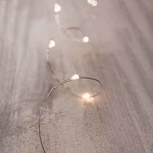 Amazon.com: LED Fairy String Lights, Ultra Thin Silver Wire, 4 Feet Length, 12 Micro LED Bulbs ...