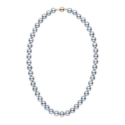 (8.0-8.5 mm 18 Inch Silver-Blue Akoya Baroque Cultured Pearl Necklace 14K Yellow Gold )