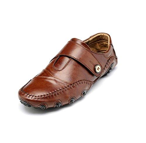 Casual Business Scarpe da Uomo Bean Pigro Scarpe da Rete Traspiranti Scarpe Oxford A Punta Tonda Fondo Morbido Brown