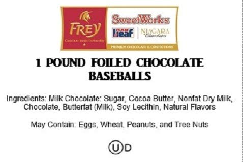 Baseballs Premium Solid Milk Chocolate Balls (1 lb - Approx 83 PCs)