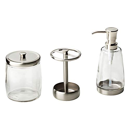 DELTA FAUCET Bath Coordinate Set Includes Soap Dispenser, Toothbrush Holder and Apothecary Jar, Satin Nickel