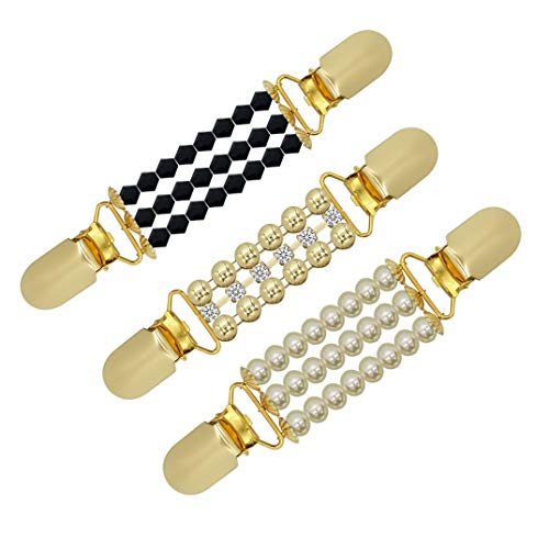 - XGALA 3 Pcs Set Sweater Shawl Clips Cardigan Beaded Duck-Mouth Plated Metal Clip for Women Girls