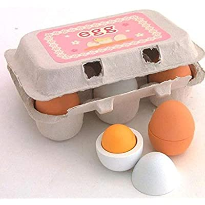 Deerbb Wooden Egg Set of 6 Group Boxed Surprised Egg for Boys Girls, Baby Young Children Pretend Play Cognitive Infant Toys for 3 6 12 18 Months 1 Years Old: Toys & Games