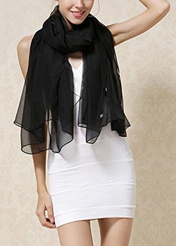 Seda colorida Chale las Negro 5 bufandas Mujer Verano Uv Invierno Todas Largo Gran Anti 1WY0TqzAn