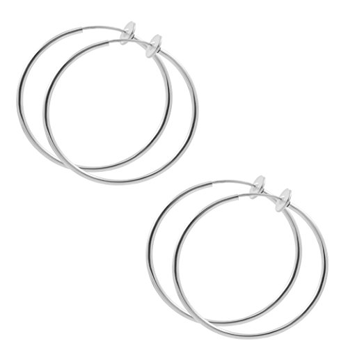 TWO Pair of 1 inch Silver Color Non Pierce Clip on Hoop Earrings for Teen (Punk Rock Costumes Australia)