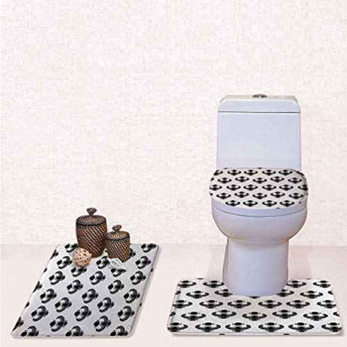 SCOCICI Rug 3-Piece Washable Bathroom Rug Beetle Scarab Silhouettes Folkloric Fantasy Bug Insect with Wings Art Pattern Toilet Carpet,Bath Mat + Contour Rug + Toilet Lid Cover