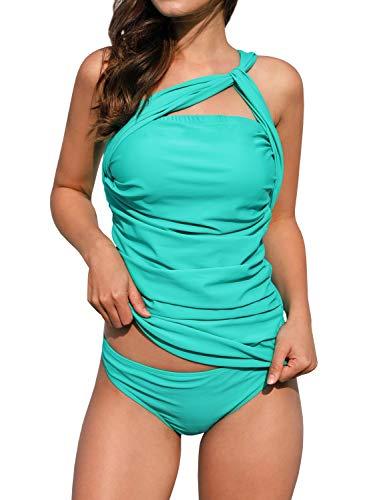 (Dellytop Womens One Shoulder Swimsuit Two Piece Ruched Tankini Tummy Control Bikini Set, Green, Medium)