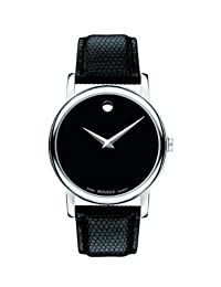 Movado Men's Museum Classic Round Dial Black Strap Watch 2100002