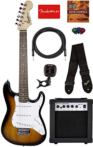 Fender Squier 3/4 Size Kids Mini Strat Electric Guitar – Brown Sunburst Bundle with Amplifier, Instrument Cable, Tuner, Strap, Picks, Fender Play Online Lessons, and Austin Bazaar Instructional DVD