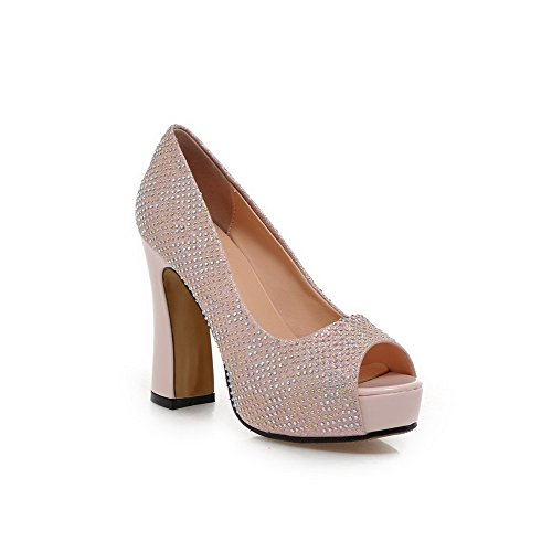 AgooLar Women's Peep Toe High Heels Soft Material Solid Pull On Sandals Pink 0eSlK