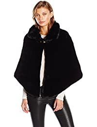 Women's Faux Fur Capelet with Buckle Closure