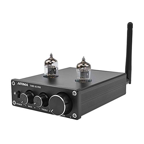 AIYIMA Audio 6J1 Tube Preamplifier Bluetooth 5.0 with Treble & Bass Adjustment DC12V HiFi Audio Preamp NE5532P Chips for Home Audio Amplifier System(Black+BT 5.0)
