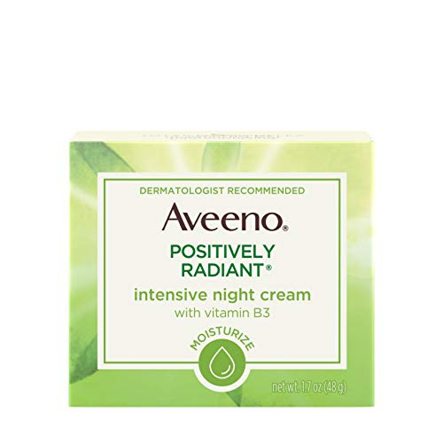 Aveeno Positively Radiant Intensive Moisturizing Night Cream with Total Soy Complex & Vitamin B3, Oil-Free, Non-Greasy, Hypoallergenic & Non-Comedogenic, 1.7 ()