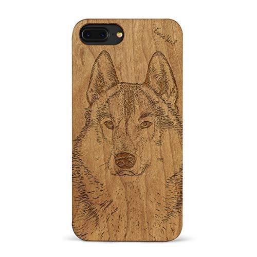 - iPhone 8 Plus/7 Plus Case CaseYard Hybrid Wood Case for Apple iPhone 8 Plus & iPhone 7 Plus Made in California(Reg-Protective Cherry) Siberian Husky