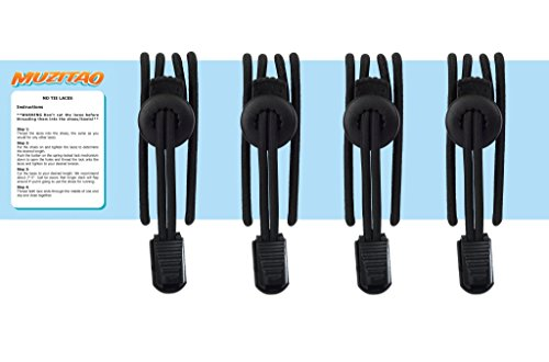 Kids No Tie Shoelaces (2 x Pairs) The Perfect Elastic Shoe Laces for School Uniforms (2 x Black Pairs)