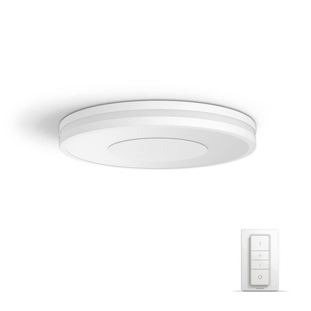 Philips Hue White Ambiance Being 40 W Connect Ready LED Ceiling Lamp, 1 x Philips Hue Being Aluminium Ceiling Lamp, 1 x Philips Hue Wireless Dimmer Switch [Energy Class A+] 915005402401