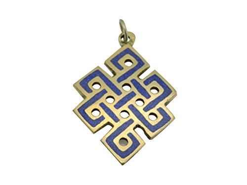 Handmade Lapis Brass Eternal Knot Pendant From Nepal