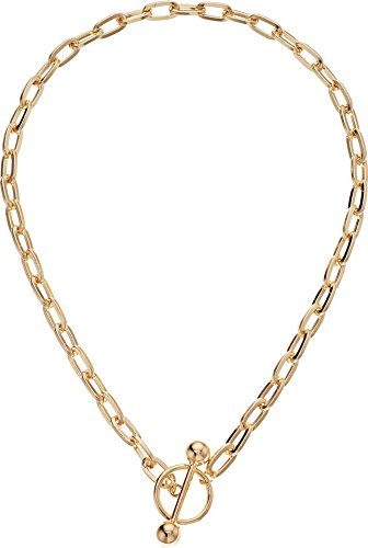 Steve Madden Women's Rolo Chain Toggle Yellow-Gold Tone Choker Necklace ()