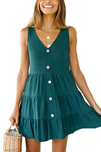Pleated Shift Dress - NICIAS Womens Sleeveless V Neck Tunic Dress Casual Loose Swing Shift Dresses Dark Green M