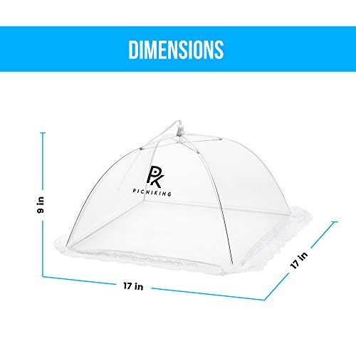 (5 Pack) Mesh Food Tents/Food Covers for Outdoors | 1 XL (49x27x17) & 4 Standard (17x17x9) | Fine Net Screen | 100% Fly Protection | Double Layer Skirt | Upgraded Rods by PicniKing (Image #3)