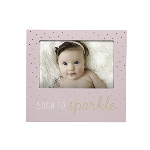 Little Blossoms by Pearhead Photo Frame, Born to Sparkle Keepsake, Baby Girl Nursery Gallery Wall, Pink (Baby Girl Frame)