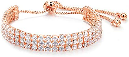 Adjustable rose gold crystal bracelet for women