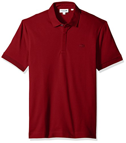 Lacoste Men's Short Sleeve Paris Piqué Polo, Bordeaux, - Mens Polo Plain Pique