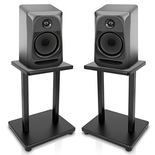 """- 13"""" Quad Speaker Stands (Pair) - Universal Heavy Duty Steel Base Top Plates & Vertical Columns w/ Adjustable Spikes Perfect for Home Surround Sound System Bookshelf & Satellite Speakers - Pyle PSTND18"""