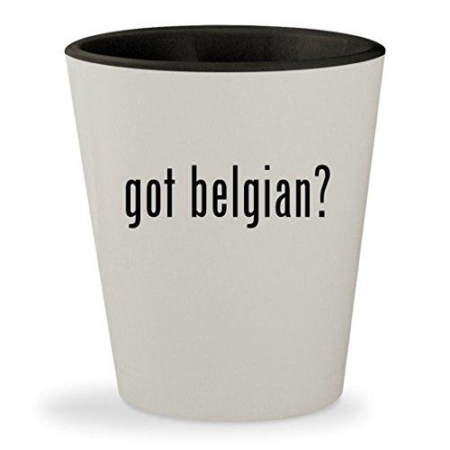 Belgian Chocolate 4 Truffles (got belgian? - White Outer & Black Inner Ceramic 1.5oz Shot Glass)