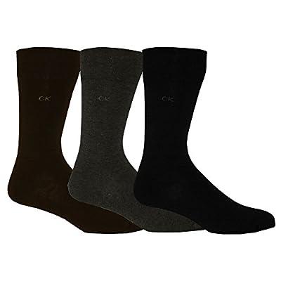 Calvin Klein 3-Pack Flat Knit Men's Socks, Brown/Grey/Black